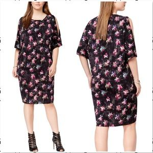 Rachel Roy Cold Shoulder Floral Print Dress Plus